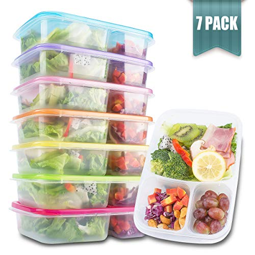 Meal Prep Containers 3 Compartment - Food Storage Containers with Lids , Thick | BPA Free | Reusable Bento Lunch Box - More Durable lunch containers - for Portion Control 21 Day Fix [7-Pack]