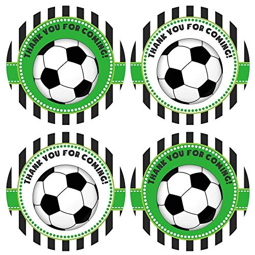 Soccer Ball Thank You Sticker Labels - Boy Girl Children Birthday Baby Shower Party - Set of 30 -
