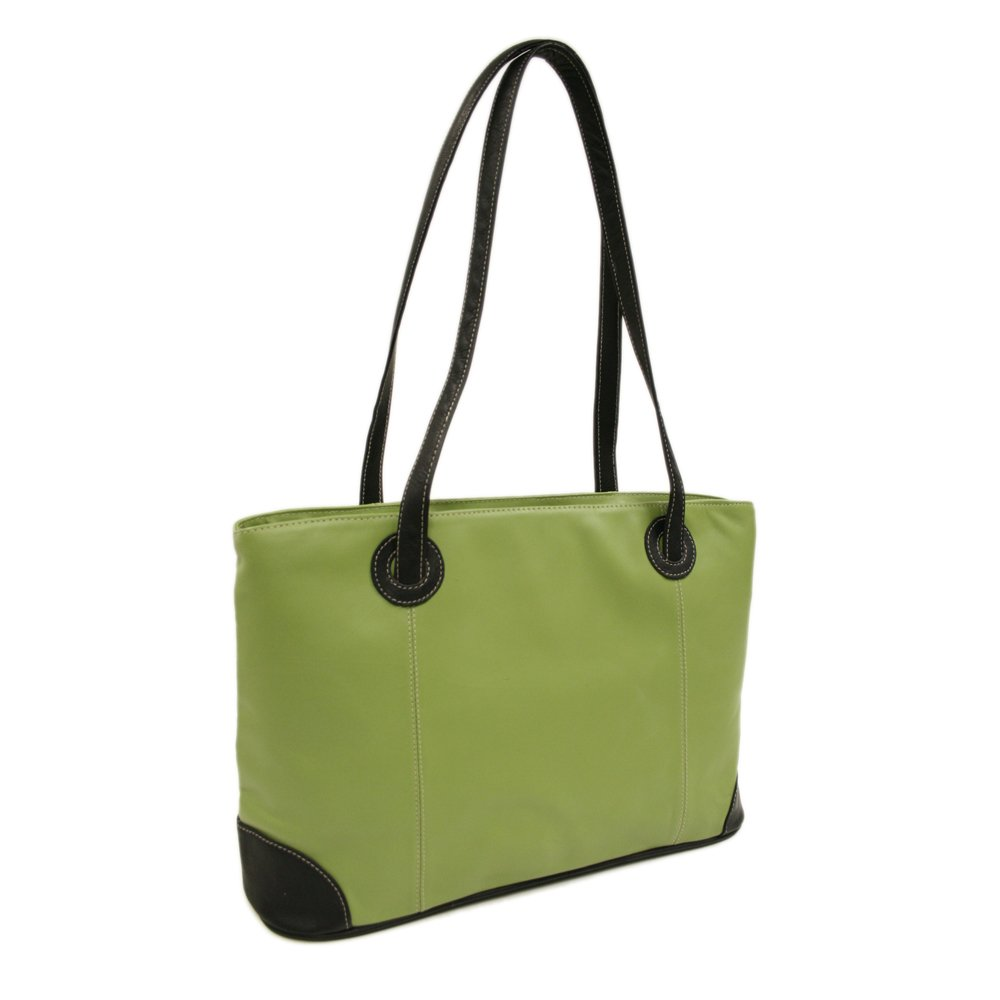 Piel Leather Ladies Computer Tote, Apple/Black, One Size
