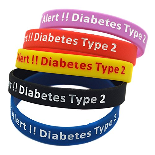 Sunling 5 Pack Survival Medical Alert Diabetes Type 2 ID Silicon Bracelet Diabetic Awareness Wristband Bangle Life Saver for Dad,Mom,Grandma,Grandpa for SOS Emergency Outdoor Indoor Activities ()