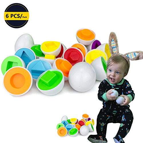 6 pcs Smart Easter Egg Montessori Toys for Kids Baby Learning Color and Shape Preschool Motor Skills Games Puzzle Educational Toys Easter Baskets for Toddlers Activity Matching Geometric Shapes Egg