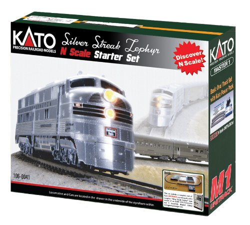 Kato USA Model Train Products N CB&Q Streak Zephyr UNITRACK Starter Set, Silver (Railroad Ho Model Track Set)