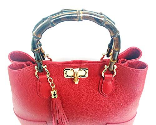 in Borsa Superflybags vero Jungle Italy in in bambù con modello Pelle Vera Made Rosso Donna manici Epqdq