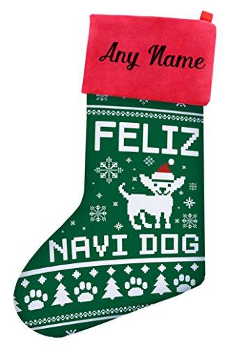 Christmas Stockings for Dogs Chihuahua Feliz Navidad Dog Ugly Christmas Sweater Themed Christmas Stockings for Dog Lovers Gifts Personalized Christmas Stockings Custom Christmas Stocking Green - Personalized Dog Sweaters