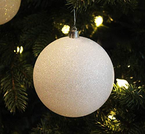 Sleetly 4pk White Snowball Christmas Tree Ball Ornaments, 4.72 inches