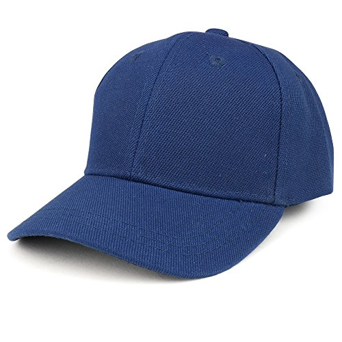 Trendy Apparel Shop Plain Infants Size Structured Adjustable Baseball Cap - Navy (Baby Ball Cap)