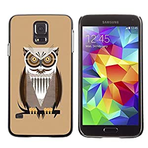 TECHCASE**Cubierta de la caja de protección la piel dura para el ** Samsung Galaxy S5 SM-G900 ** Owl Brown Big Eyes Branch Tree Bird Forest