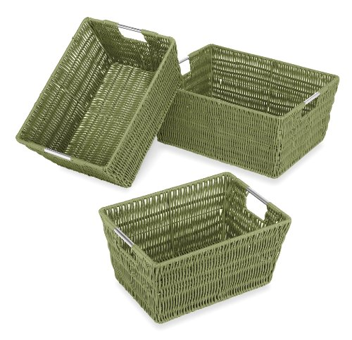 Whitmor Rattique Storage Baskets Set of 3 Sage
