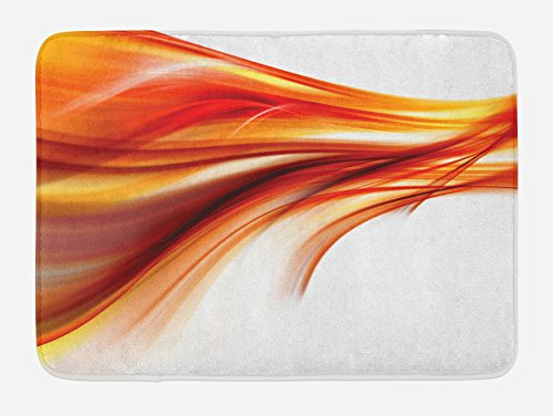 Ambesonne Abstract Bath Mat, Modern Contemporary Abstract Smooth Lines Blurred Smock Art Flowing Rays Print, Plush Bathroom Decor Mat with Non Slip Backing, 29.5 X 17.5, Dark Red