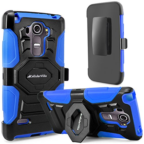 LG G Stylo Case, Cellularvilla LG G Stylus Case [Heavy Duty] [Hard Soft] Hybrid Armor Rugged Case with Holster Shell [Belt Clip] Swivel Kickstand Cover For LG G Stylo LS770 (Blue Black)