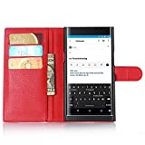 BlackBerry Priv Case [Leather Wallet Case] [Drop Protection], Popsky Lichee Lines Stand Flip Case with Built-in Card Slots and Cash Compartment Premium PU Leather Case Cover (Red)