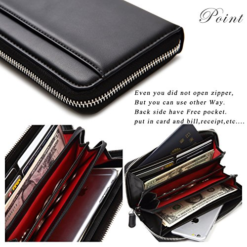 Lustear Women's Zip Around Long Wallets With Zipper Coin Purse (Black×Red) by Lustear (Image #5)