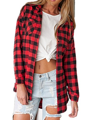 Sorrica Women's Casual Loose Long Sleeve Plaid Flannel Blouse Shirt (XL, (Red Flannel)