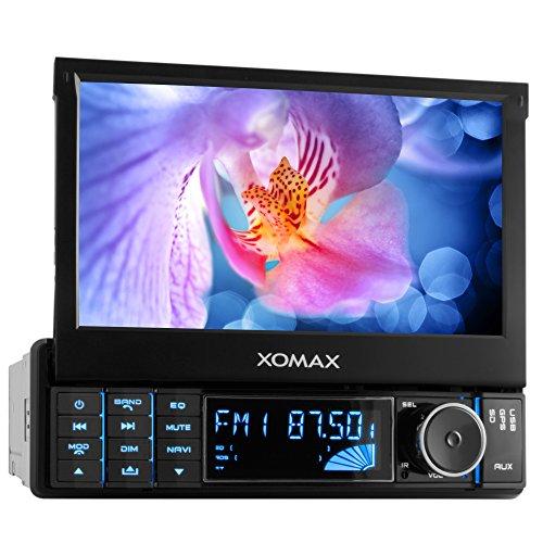 XOMAX XM-VRSUN728 Autoradio / Moniceiver / Naviceiver mit GPS Navigation + NAVI Software inkl. Europa Karten (38 Länder) + Bluetooth Freisprechfunktion inkl. Telefonbuch-Import + 7 Zoll / 18 cm Touchscreen + USB Anschluss + SD Kartenslot + Aux In + Single DIN / 1 DIN Standard Einbaugröße inkl Fernbedienung, Einbaurahmen