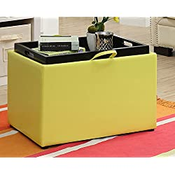 Convenience Concepts 143523Y Accent Storage Ottoman, Yellow