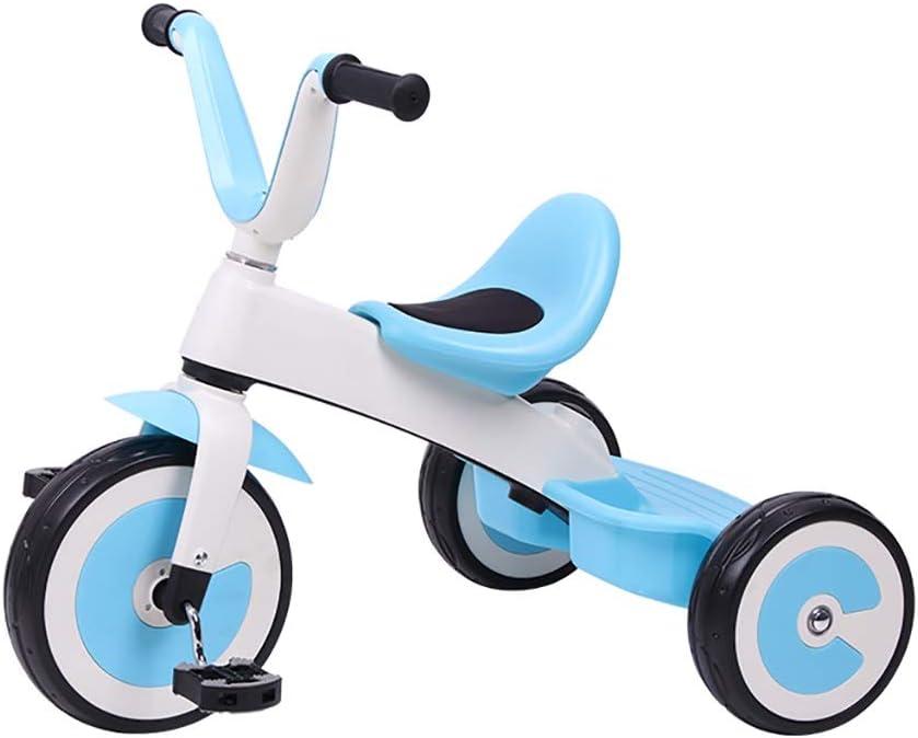 NBgy Triciclo, Ruedas De Triciclo para Niños Multifunción Ajustables De 2 Velocidades Sin Cargo, Triciclo Exterior para Bebés De 2-5 Años, 3 Colores, 56x70x31cm (Color : Azul)