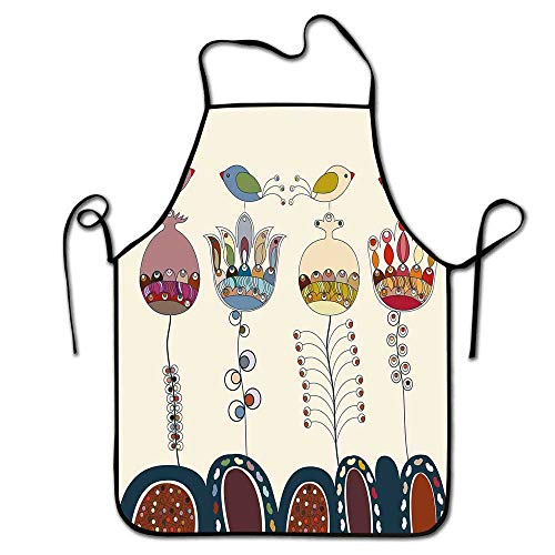 Winnee Garden Apron Grill Men Stylized Cartooned Cute Landscape with Flowers Birds and Abstract Forms Colorful Apron Women,Chef,Waitress,Hairstylist Multicolor - Hat I Love Chefs Lucy