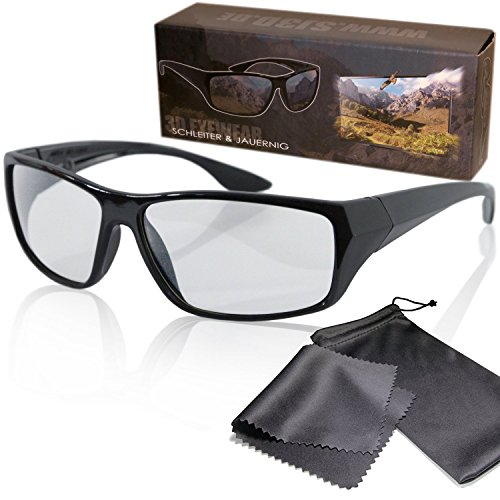 "Passive 3D Movie & TV Glasses - Black - Passive Circularly Polarized - For Reald Cinema and Passive 3D Tvs Such As Lg ""Cinema 3d"", Philips ""Easy 3D"", 3D Televisions From Sony, Toshiba, Panasonic, Grundig, Hisense, Finlux and more - With Pouch and Cleaning Cloth"