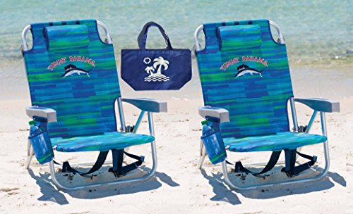 2 Tommy Bahama Backpack Beach Chairs (Blue Stripes + Blue Stripes) + 1 Medium Tote Bag