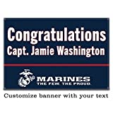 Buttonsmith USMC Marine Blue Custom Vinyl Banner 3'x2' - Indoor/Outdoor - Officially Licensed - Personalize with Name and Rank - Hemmed and Grommeted - Designed Printed and Assembled in USA