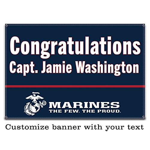 Buttonsmith USMC Marine Blue Custom Vinyl Banner 3'x2' - Indoor/Outdoor - Officially Licensed - Personalize with Name and Rank - Hemmed and Grommeted - Designed Printed and Assembled in USA by Buttonsmith
