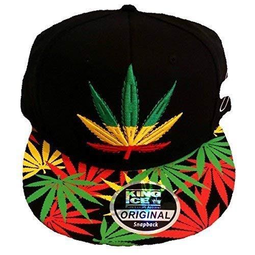 Rasta marihuana de de visera con plana King unisex Weed con de Gorra plantas Ice diseño Pxvwqv6