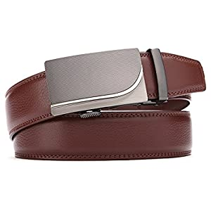 "Men's Belt,Bulliant Leather Ratchet Belt for Men with Sliding Buckle 1 3/8"" In Gift Box,Trim to Fit"