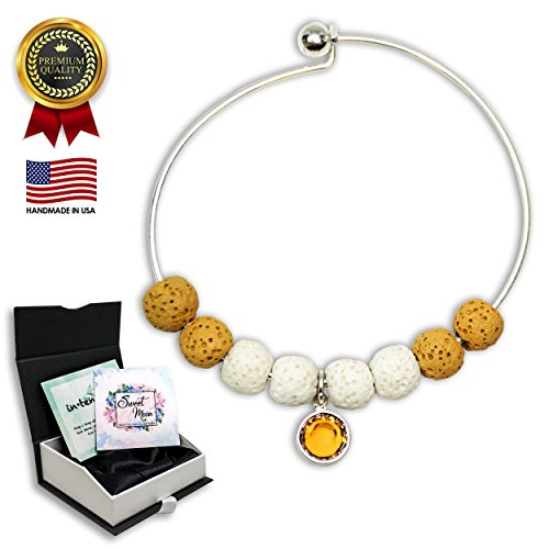 Mother's Day Gift-Aromatherapy Essential Oil Diffuser Bracelet Jewelry with Swarovski Birthstone (Topaz) and Yellow Lava Rock for Women - Stress and Anxiety Relief Bangle ()