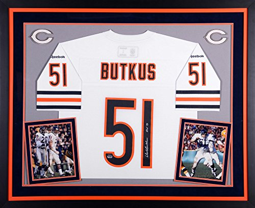 """Dick Butkus Chicago Bears Autographed Deluxe Framed White Reebok EQT Jersey with""""HOF 79"""" Inscription - Fanatics Authentic Certified"""