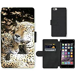 Super Stella Cell Phone Card Slot PU Leather Wallet Case // M00107367 Jaguar Cat Zoo Wildlife Feline // Apple iPhone 6 4.7""
