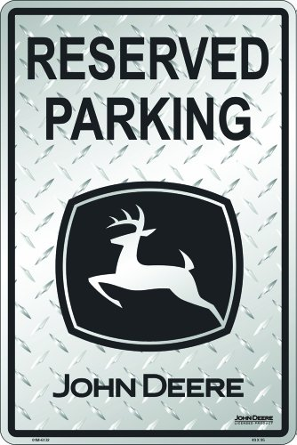 John Deere Parking Sign - John Deere Reserved Parking, Embossed Diamond Design, Black