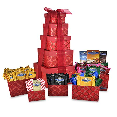 Chocolate Usa Gift Tower - Ghirardelli 5-Tier Tower Holiday Chocolate Gift Set, Red Festive, 35.5 Ounce