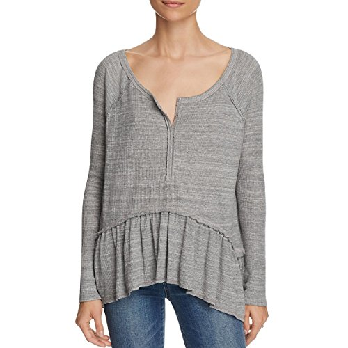 Free People Womens Thermal Ruffled Henley Top Gray L