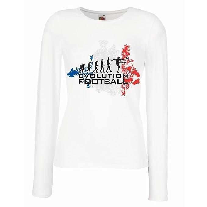 lepni.me Camisetas de Manga Larga para Mujer Fútbol de Evolución - Francia, Campeonato de Rusia 2018, Copa del Mundo - Camisa del admirador de Equipo del ...