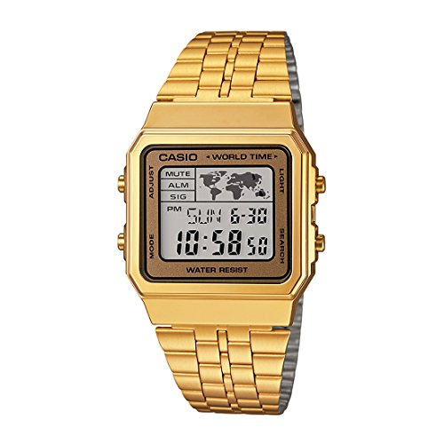 CASIO Men's Digital World TIME A500WGA-9DF Stainless Steel Watch (Casio Gold Watch For Men)