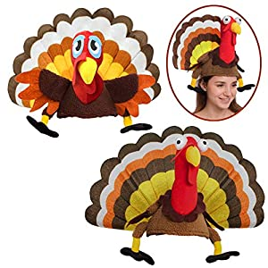Spooktacular Creations 2 Turkey Hats for Happy Thanksgiving Party Costume, Outfit, Dress, Decorations.