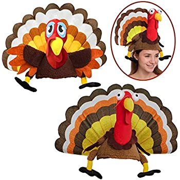 430bdbd0b98 Spooktacular Creations 2 Turkey Hats for Happy Thanksgiving Party Costume