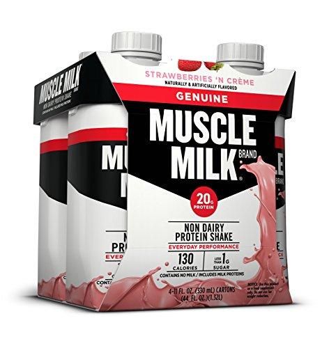 Muscle Milk Genuine Protein Shake, Strawberries 'N Crème, 20g Protein, 11 FL OZ, (Pack of 4)