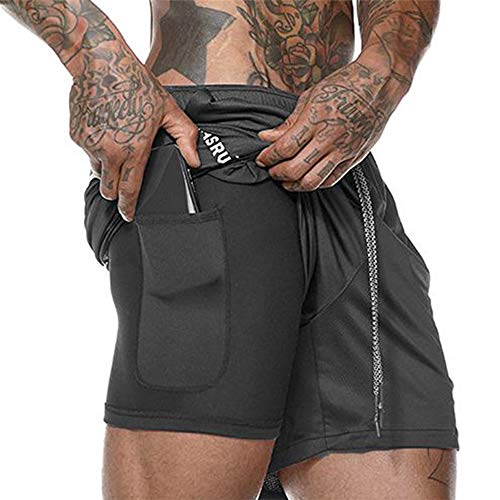 FGKJ Men Double-Layer Fitness Quick-Drying Breathable Running Training Short Pants Black