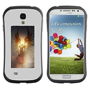 """Hypernova Slim Fit Dual Barniz Protector Caso Case Funda Para SAMSUNG Galaxy S4 IV / i9500 / i9515 / i9505G / SGH-i337 [Muerte Sun Alas Cartel Dios Gris""""]"""