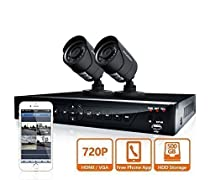 LaView 2 HD 720P Camera Security System,  4 Channel 720P HD-TVI DVR w/500GB HDD and 2 720P HD Black Bullet Surveillance Cameras