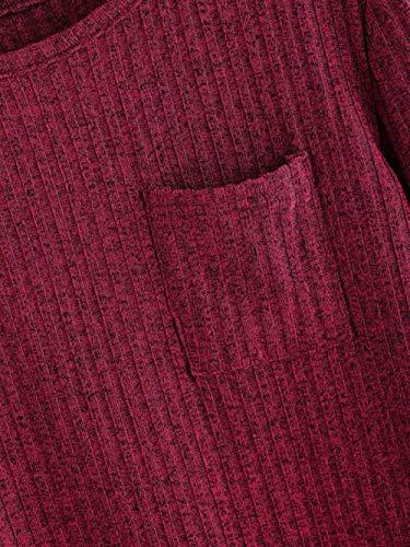 SHOBDW otoño Invierno Rojo Cuello Bolsillo Casual Vino de Manga Larga Tops Redondo Mujer Moda Jersey Corta Sudadera para de de Liquidación Blusa sólido Venta prgWaTPp