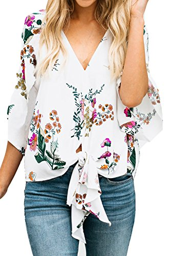 Silindashop Floral Tops and Blouse Summer Plus Size 3/4 Sleeve V Neck Tee T-Shirt for Women S White