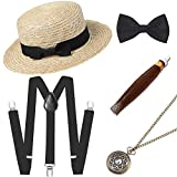 BABEYOND 1920s Mens Gatsby Costume Accessories Set Includes Brim Boater Hat Elastic Y-Back Suspender Pre Tied Bow Tie Pocket Watch and Plastic Cigar (Set-5)