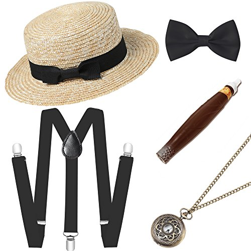 - BABEYOND 1920s Mens Gatsby Costume Accessories Set Includes Brim Boater Hat Elastic Y-Back Suspender Pre Tied Bow Tie Pocket Watch and Plastic Cigar (Set-5)