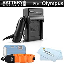 Battery Charger Kit For Olympus TOUGH TG-1iHS, TG-2 iHS, TG-3, TG-4 Waterproof Digital Camera Includes Ac/Dc 110/220 Rapid Travel Charger For The Olympus LI-90B, LI-92B Battery + Floating Strap
