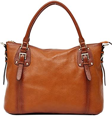 Heshe Soft Genuine Leather Lady New Fahion Vintage Top Handle Tote Crossbody Shoulder Bag Satchel Zippered Closure Purse Handbag for Women Fit 14 in Laptop