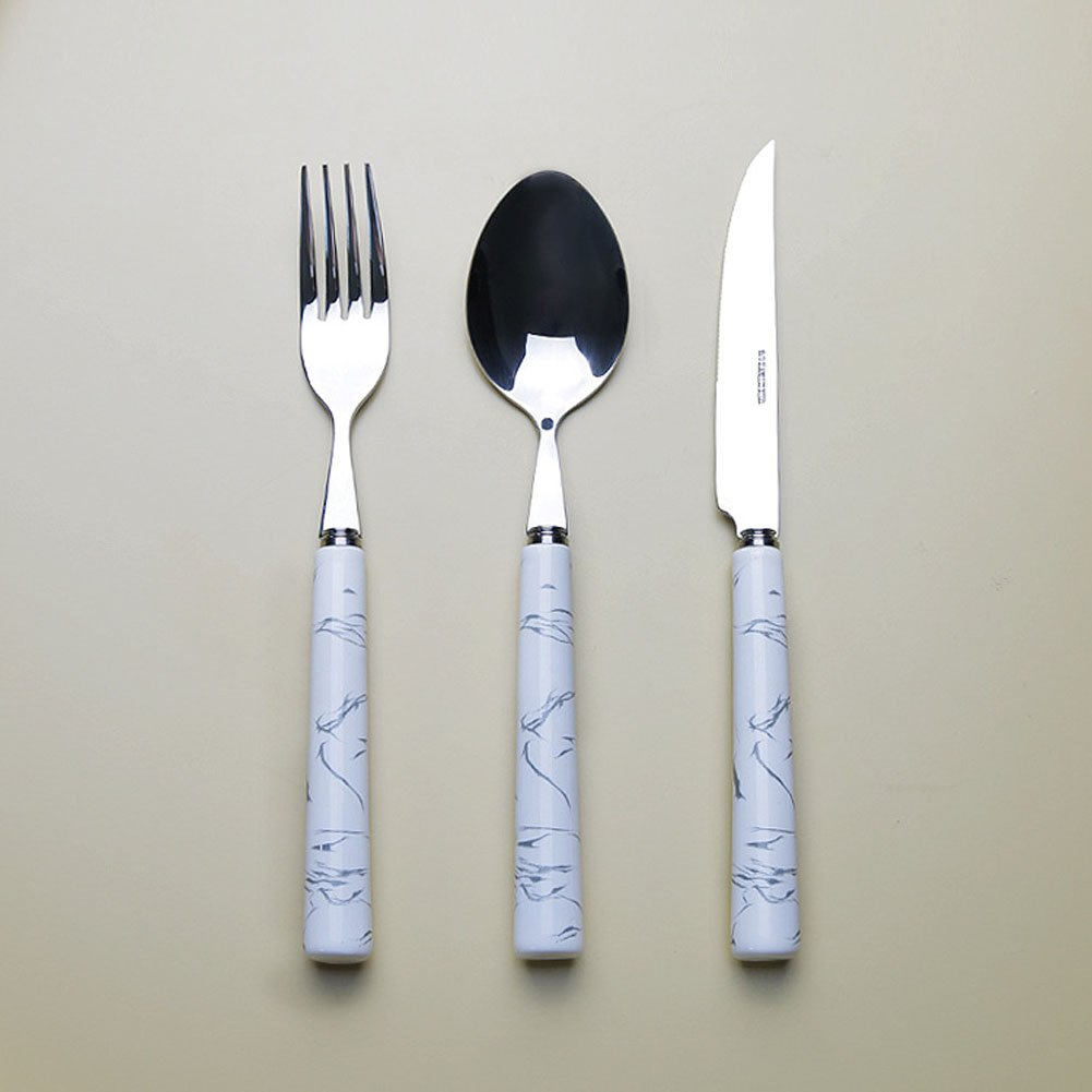 3meals 1day 3 Piece Colour Cutlery Set Dinnerware 304 Stainless Steel Porcelain Handle 1 PC Knife 1 PC Fork 1PC Dinner Spoon Marble Pattern