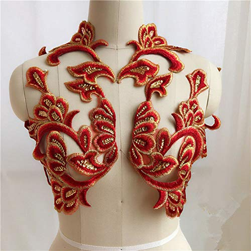 MOPOLIS Flowers Color Embroidery 3D Applique Wedding Dress Cheongsam Accessories DIY | Color - Red Big Flower | only 1 piece |