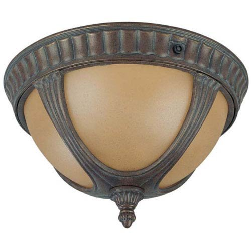 Nuvo Lighting 60/3907 Beaumont Outdoor Flush Mount with Photocell, Sienna Glass, Fruitwood Bronze - Fruitwood Collection